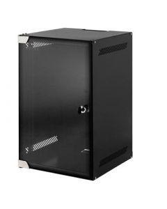 """10"""" 9U wandkast, met gehard glazen deur, zwart, met slot, ONGEMONTEERD, (BxDxH):280x310x463mm."""