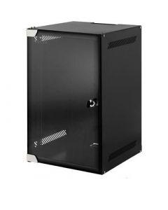 """10"""" 4U wandkast, met gehard glazen deur, zwart, met slot, ONGEMONTEERD,  (BxDxH): 280x310x241mm"""