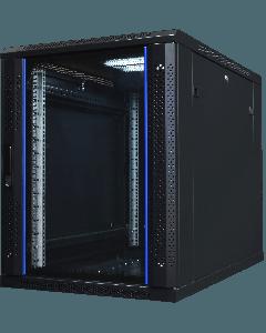 """15U, 19"""" serverkast, met glazen voordeur onder de bureaus(BxDxH) 600x1000x852mm"""