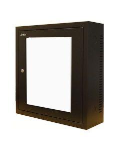 3U 19 inch Wandkast met glazen voordeur zwart