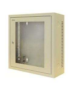 3U 19 inch Wandkast met glazen voordeur grijs