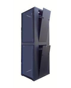 42U 19 inch Serverkast met glazen voordeur en met 2x 18U Compartiment