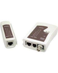2 delige kabelstester, geschikt voor RJ45, RJ12 & BNC